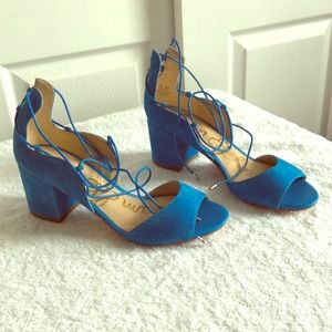 Sam Elderman stack heel turquoise suede sandals